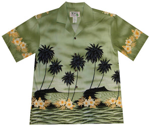 Ky's Green Palm Tree Silhoutte Hawaiian Shirt.