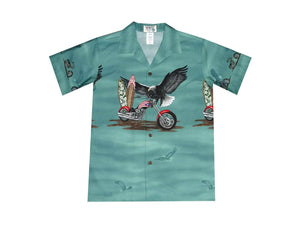 Boy's Hawaiian Shirts S / Green Patriotic Motorcycle Boy's Hawaiian Shirt