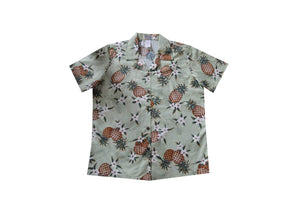Hawaiian Blouse S / Green Pineapple Mania Women's Hawaiian Shirt