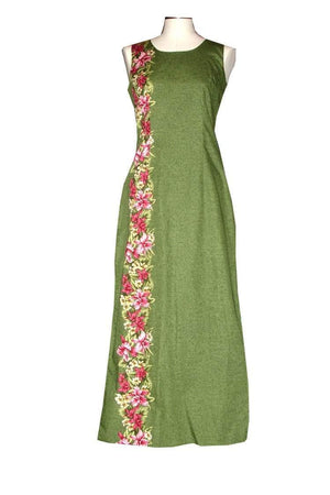 Long Tank Dress S / Green Tiny Orchid Lei Long Tank Hawaiian Dress