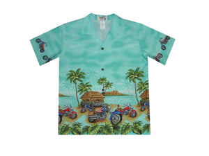 Boy's Hawaiian Shirts S / Green Tropical Motorcycles Boy's Hawaiian Shirt