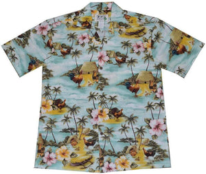 KY's Green Wild Rooster Hawaiian Shirt.