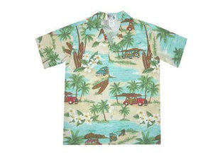 Boy's Hawaiian Shirts S / Green Woody and Surfboard Boy's Hawaiian Shirt
