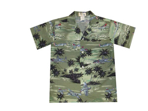 Boy's Hawaiian Shirts S / Green World War 2 Planes Boy's Hawaiian Shirt