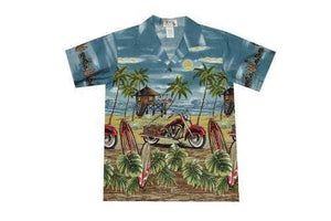 Boy's Hawaiian Shirts S / Grey Motorcycle and Surfboard Boy's Hawaiian Shirt