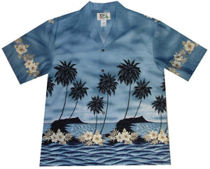 Ky's Grey Palm Tree Silhoutte Hawaiian Shirt.