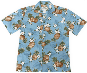 Hawaiian Shirt S / Light Blue Pineapple Mania Hawaiian Shirt