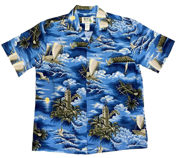 Hawaiian Shirt S / Navy Blue Aloha Tower Hawaiian Shirt