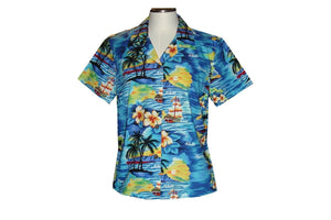 Girl's Hawaiian Blouse S / Navy Blue Classic Discovery Girl's Hawaiian Blouse