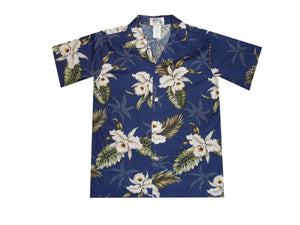 Boy's Hawaiian Shirts S / Navy Blue Classic Orchid Boy's Hawaiian Shirt