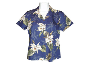 Girl's Hawaiian Blouse S / Navy Blue Classic Orchid Girl's Hawaiian Blouse