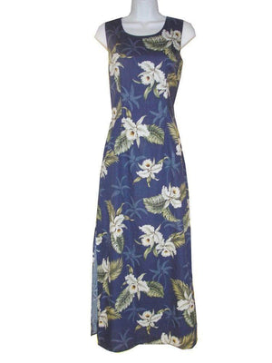 Long Tank Dress S / Navy Blue Classic Orchid Long Tank Hawaiian Dress