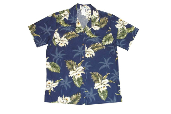 Hawaiian Blouse S / Navy Blue Classic Orchid Women's Hawaiian Shirt