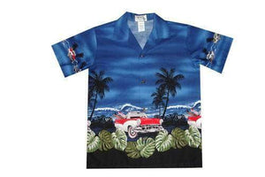 Boy's Hawaiian Shirts S / Navy Blue Classical Car Boy's Hawaiian Shirt