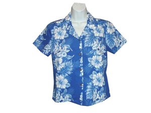 Girl's Hawaiian Blouse S / Navy Blue Floral Lei Girl's Hawaiian Blouse