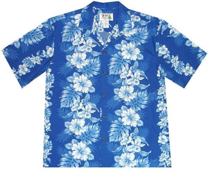 Hawaiian Shirt S / Navy Blue Floral Lei Hawaiian Shirt