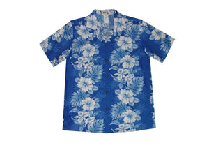 Hawaiian Blouse S / Navy Blue Floral Lei Women's Hawaiian Shirt