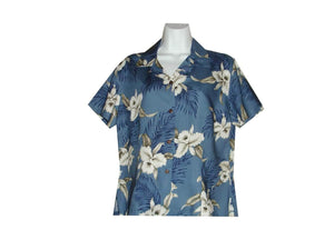 Girl's Hawaiian Blouse S / Navy Blue Garden Orchid Girl's Hawaiian Blouse