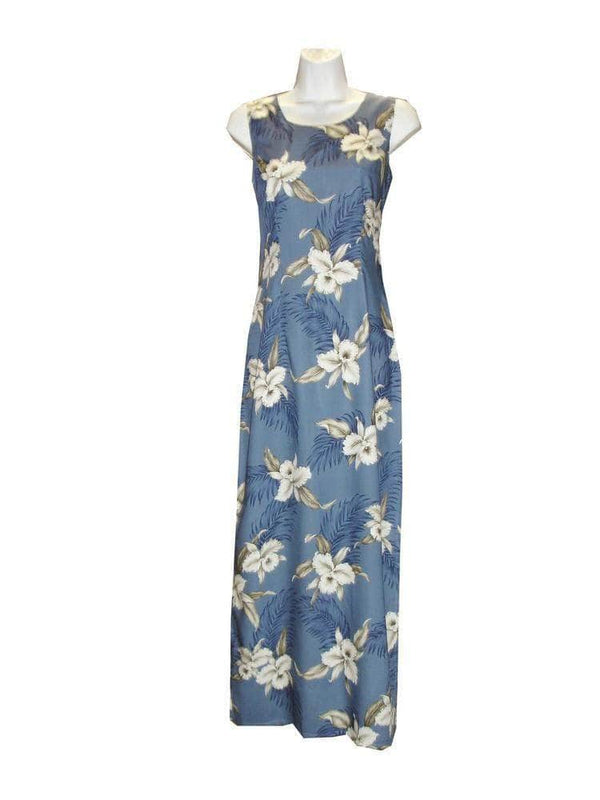 Long Tank Dress S / Navy Blue Garden Orchid Long Tank Hawaiian Dress