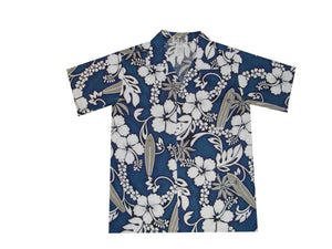 Boy's Hawaiian Shirts S / Navy Blue Hibiscus and Surfboard Boy's Hawaiian Shirt