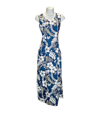 Long Tank Dress S / Navy Blue Hibiscus and Surfboard Long Tank Hawaiian Dress