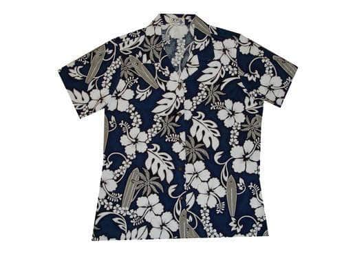 Hawaiian Blouse S / Navy Blue Hibiscus and Surfboard Women's Hawaiian Shirt