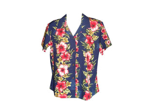 Girl's Hawaiian Blouse S / Navy Blue Hibiscus Floral Panel Girl's Hawaiian Blouse