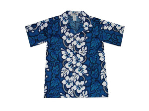 Boy's Hawaiian Shirts S / Navy Blue Hibiscus Lei Boy's Hawaiian Shirt