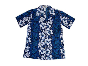 Hawaiian Blouse S / Navy Blue Hibiscus Lei Women's Hawaiian Shirt