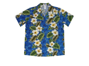 Hawaiian Blouse S / Navy Blue Hibiscus Panel Women's Hawaiian Shirt