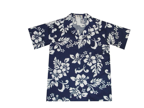 Boy's Hawaiian Shirts S / Navy Blue Hibiscus Silhouette Boy's Hawaiian Shirt
