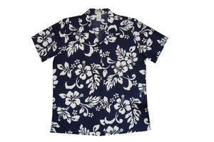 Hawaiian Blouse S / Navy Blue Hibiscus Silhouette Women's Hawaiian Shirt