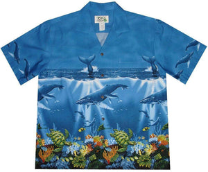Hawaiian Shirt S / Navy Blue Humpback Whale Hawaiian Shirt