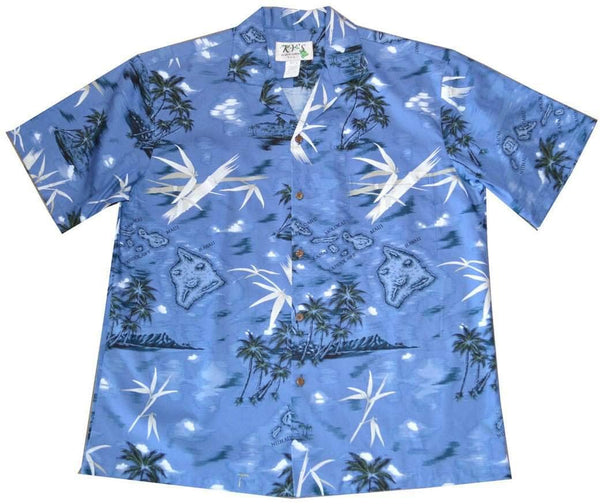 Hawaiian Shirt S / Navy Blue Island Discover Hawaiian Shirt