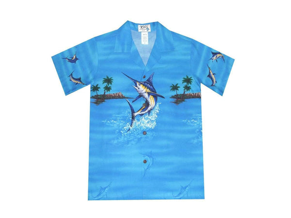 Boy's Hawaiian Shirts S / Navy Blue Jumping Marlin Boy's Hawaiian Shirt