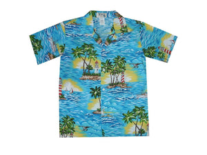 Boy's Hawaiian Shirts S / Navy Blue Lighthouse Wave Boy's Hawaiian Shirt