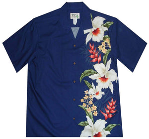 Hawaiian Shirt S / Navy Blue Macaw Flower and Orchid Hawaiian Panel Shirt