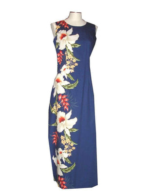 Long Tank Dress S / Navy Blue Macaw Flower and Orchid Long Tank Hawaiian Dress