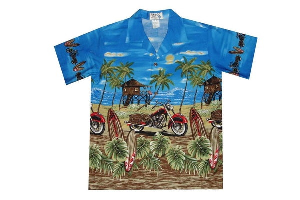 Boy's Hawaiian Shirts S / Navy Blue Motorcycle and Surfboard Boy's Hawaiian Shirt