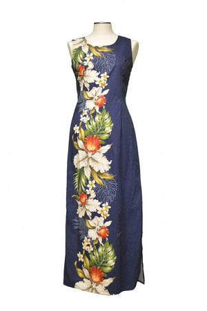 Long Tank Dress S / Navy Blue Orchid and Plumeria Side Panel Hawaiian Long Tank Dress