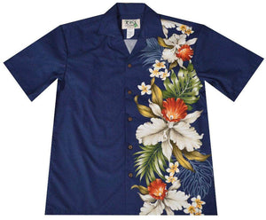 Hawaiian Shirt S / Navy Blue Orchid and Plumeria Side Panel Hawaiian Shirt