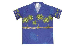 Boy's Hawaiian Shirts S / Navy Blue Palm Tree Boy's Hawaiian Shirt