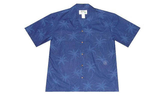 Hawaiian Shirt S / Navy Blue Palm Tree Shadows Hawaiian Shirt