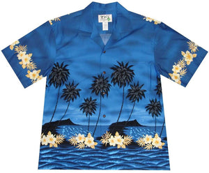 Ky's Navy Blue Palm Tree Silhoutte Hawaiian Shirt.