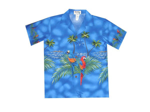Boy's Hawaiian Shirts S / Navy Blue Parrot Paradise Boy's Hawaiian Shirt
