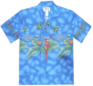 Hawaiian Shirt S / Navy Blue Parrot Paradise Hawaiian Shirt