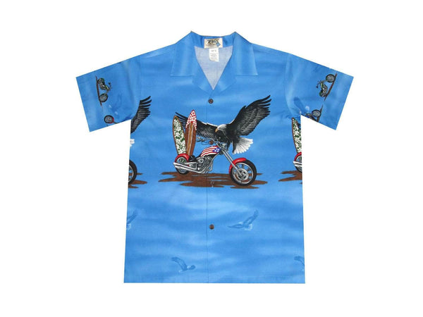 Boy's Hawaiian Shirts S / Navy Blue Patriotic Motorcycle Boy's Hawaiian Shirt