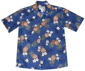 Hawaiian Shirt S / Navy Blue Pineapple Mania Hawaiian Shirt