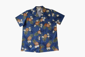 Hawaiian Blouse S / Navy Blue Pineapple Mania Women's Hawaiian Shirt