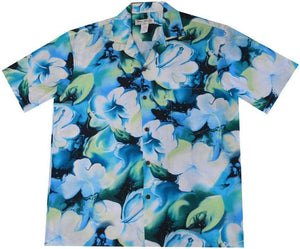 Hawaiian Shirt S / Navy Blue Splash Hibiscus Rayon Hawaiian Shirt